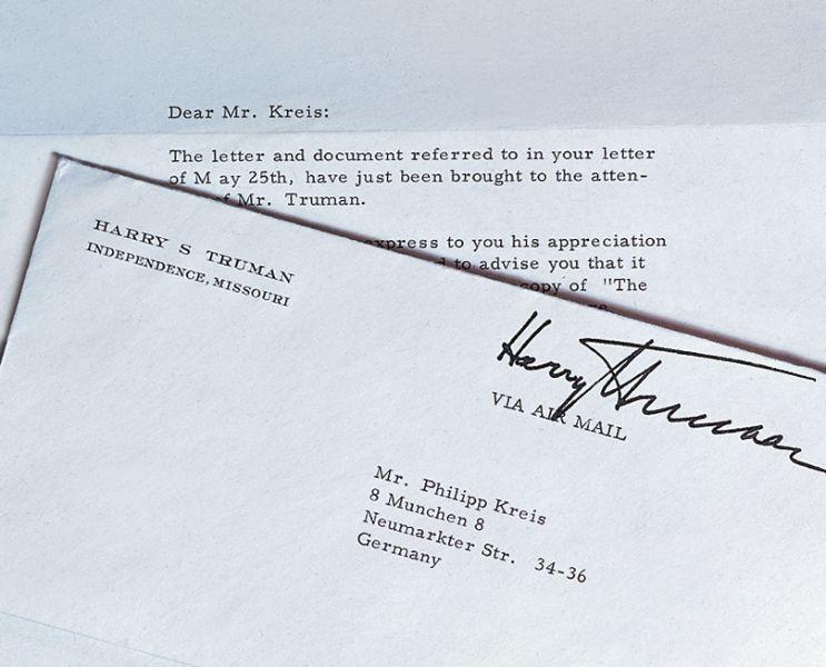 lettera del 33° presidente USA Harry Truman