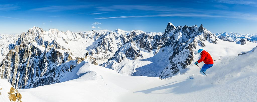 Skiing Vallee Blanche Mont Blanc