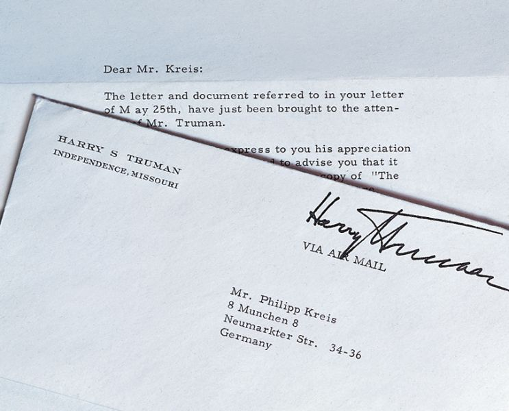 lettera del 33° presidente USA Harry Truman