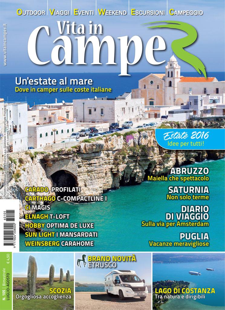 Copertina Vita in Camper 105 - Luglio Agosto 2016