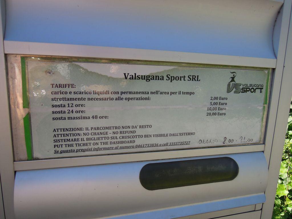 Area sosta Borgo Valsugana (TN) tariffe