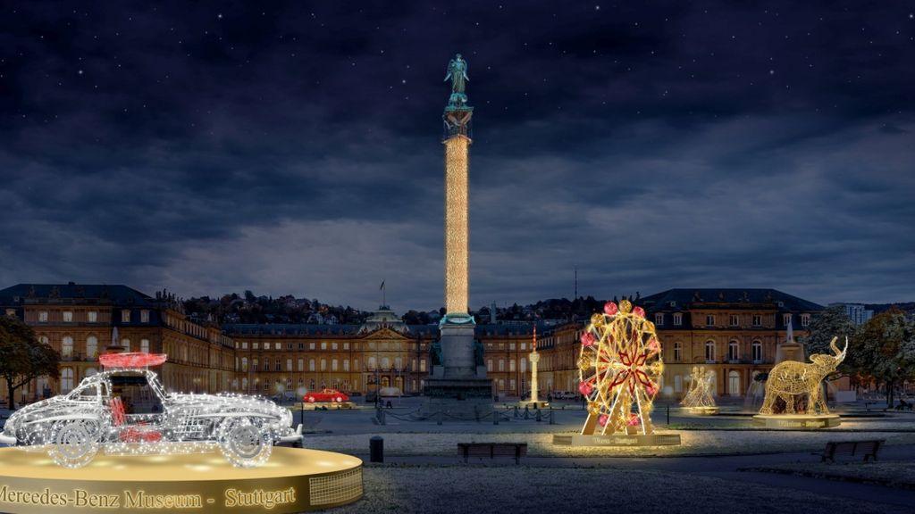 Weihnachtliche illumination auf dem Schlossplatz